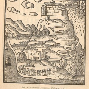 Idealised Lullian landscape, from an edition of the Ars inventiva veritatis dating from 1515.