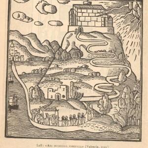 Paesaggio lulliano idealizzato, secondo un'edizione del 1515 dell'Ars inventiva veritatis.