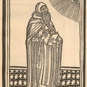 Idealisiertes Portrait von Ramon Llull, aus einer Edition des Apostrophe Raimundi von 1504.