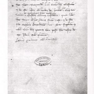 Dédicace de l'Art démonstrative au duc de Venise, Pierre Gradenigo. Provenance : manuscrit VI 200 de la Bibliothèque Marciana de Venise.