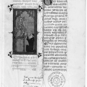 Ms. lat. 3323 of the Bibliothèque Nationale of France, Liber natalis pueri parvuli Christi Iesu (1311), f. 2r. The miniature shows Llull offering the volume to King Philip IV, le Bel.