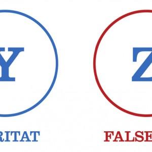 Figure Y e Z dell'Arte dimostrativa, rappresenta la verità e la falsità.